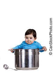 Baby girl in the pot