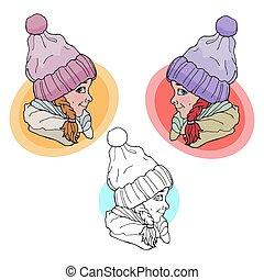 Baby girl in winter hat. Vector illustration