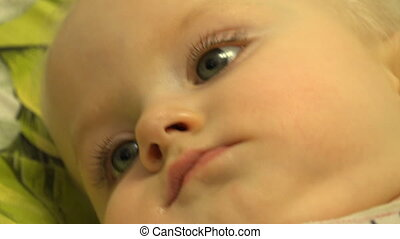 Baby Girl Intent Look, Wow. Closeup. Downscaled from 4K,...