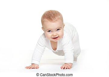 Baby girl isolated on white background