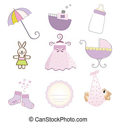 baby girl items set in vector format isolated on white ...
