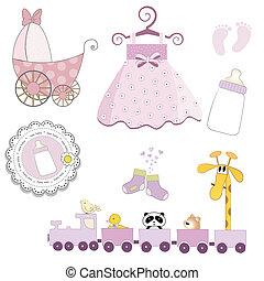 baby girl items set isolated on white background