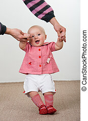 baby girl learn to walk