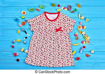 baby-girl, natural, algodão, dress.