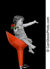 Baby girl on a stylish stool - Baby girl with a rose sitting...