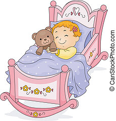 Happy Baby Girl Sleeping on a Cradle cuddling a Teddy Bear