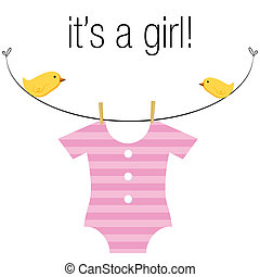 Baby Girl Onesie - An image of a baby girl pink onesie ...