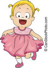 Baby Girl Pink Dress - Illustration of a Smiling Little Girl...