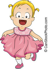 Baby Girl Pink Dress - Illustration of a Smiling Little Girl...