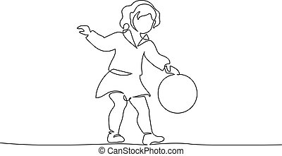 Baby girl playing with ball Continuous one Line art drawing
