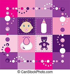 Baby Girl Quilt 2 - Vector Illustration of baby girl quilt...