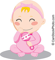 Baby Girl Rattle - Little baby girl holding and shaking a...