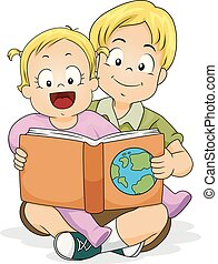 Baby Girl Read Brother Geography Book Illustration