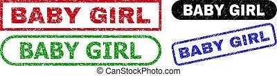 BABY GIRL Rectangle Seals Using Distress Texture