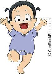 Baby Girl Romper - Illustration of a Smiling Little Girl...