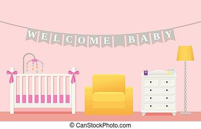 Baby girl room interior. Vector illustration in flat design.