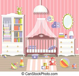 Baby girl room with furniture. Stylish cute pink colors. Flat st