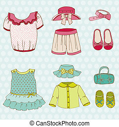 Baby Girl Set - for design and scrapbook - in vector