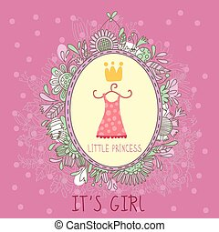 Baby Girl Shower and Arrival Card with girls' attributes.With place for your foto and text in vector.