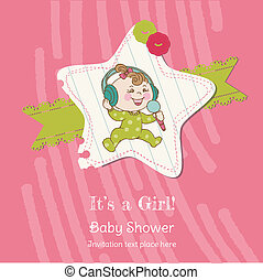 Baby Girl Shower and Arrival Card - with place for your text in vector