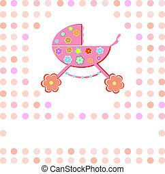 Baby girl Shower Announcement perambulator