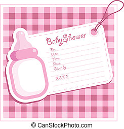 Baby Girl Shower card. - Baby shower invitation.