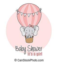baby girl shower card. Elephant flying in balloon