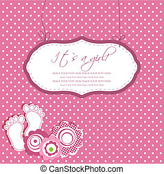 Baby girl shower card with foot steps and frame for your text