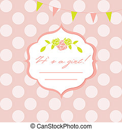 Baby girl shower card with  seamless polka dots