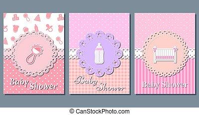 Baby girl shower cards. Vector illustration.
