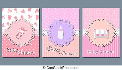 Baby girl shower cards. Vector illustration.