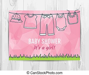 Baby girl shower invitation card.