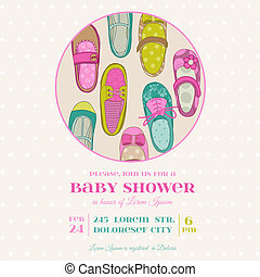 Baby Girl Shower or Arrival Card with Place for your text - in vector
