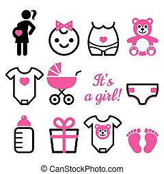 Baby girl shower vector icons set, pregnant womant with...