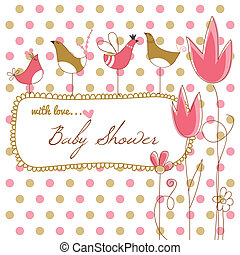 Baby girl shower with pink flowers and birds