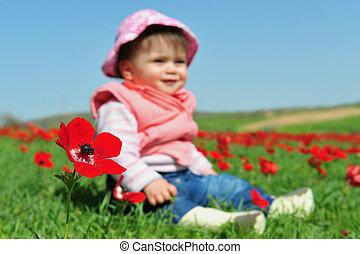 Baby Girl Sitting in Flowery Field