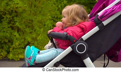 Baby girl sitting on carriage in autumn park