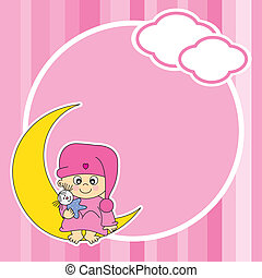 baby girl sitting on the moon