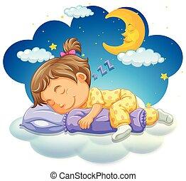 Baby girl sleeping at night
