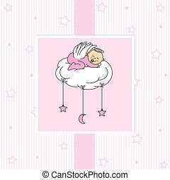 baby girl sleeping on a cloud