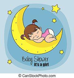 baby girl sleeping on top of the moon