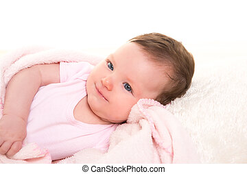 baby girl smiling dress in pink with white fur