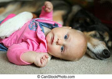 Baby Girl Snuggling with Pet German Shepherd Dog