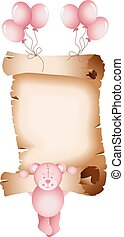 Baby girl teddy bear parchment - Scalable vectorial image...