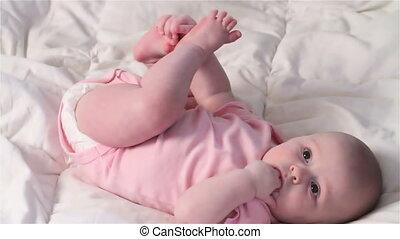 Baby Girl Teething and Playing