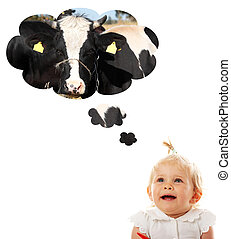 Baby girl thinking about cow (milk) - Blond caucasian baby...