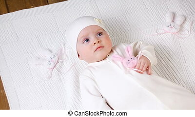 baby girl white knitted jacket with pink rabbit and a white...