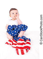 Baby girl with american flag.