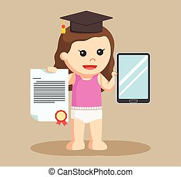 baby girl with bachelor awards and tablet