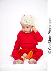 Baby girl with bunny hat